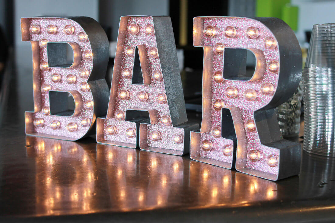 Sociably Yours - Light Up BAR sign